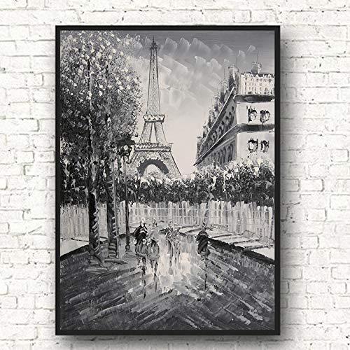 Wandplakate und Drucke London Street View Paris moderne Messer Ölgemälde Leinwanddrucke Poster Fotos nach Hause rahmenlose dekorative Malerei A91 40x60cm