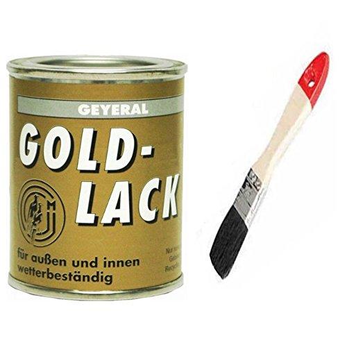 Goldlack wetterfest inkl. Pinsel von E-Com24 zum Auftragen (Goldlack 125 ml)