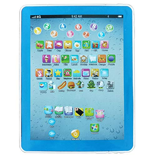DishyKooker Tablet Pad Computer for Kid Children Learning English Educational Teach Toy Gift Russian (Blue) The Latest Stylish,The Best Gift for Family or Friends