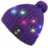 Qshell LED de luz de Cadena hasta Beanie Hat Gorra de Punto con Alambre de Cobre Luces Coloridas 4 pies 36 Leds para Hombres Mujer Interior y al Aire Libre, Fiesta, Celebración
