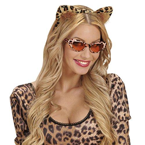 NET TOYS Leoparden Ohren Haarreif Katzenohren Harreifen Leopard Kopfschmuck Katzen Haarschmuck Tigerohren Tierohren Kostüm Accessoire Damen