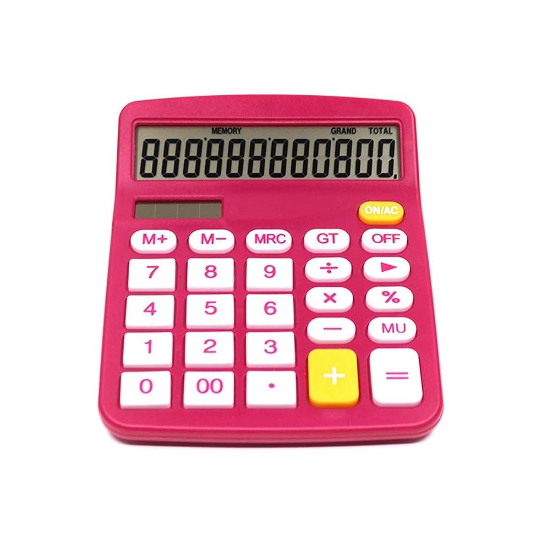 報酬の美徳宝石多機能 竹製電卓 2個ローズレッド電卓、12桁のソーラー電卓、標準機能エレクトロニクスデスクトップ電卓 (色 : Photo Color, サイズ : ワンサイズ)