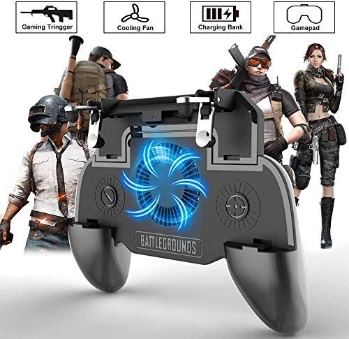 PUBG Gamepad Controller, 4-in-1 Upgrade Sensitive Joystick Gamepad Shoot Goals Bank with Power and Cooling Fan Rules for Survival Android iOS (4000mAh) Provide You with a Good Gaming Experience