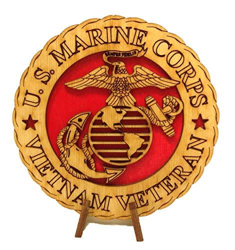 "CLA Armed Forces Marines Vietnam Veteran Military Decorative Laser Three Dimensional Wooden Desk Plaque Medallion 4"""