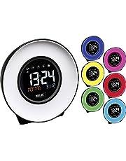 TFA Dostmann Mood Light - Despertador con luz (Sonidos, plástico, 138 x 92 x 139 mm), Color Blanco y Negro