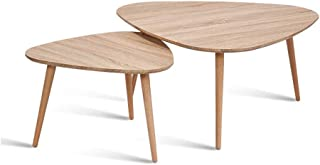 Tables, Nesting Side Set Triangle End, Coffee Solid Beech Legs, Nature Wood Color (Size : 60 * 40cm),Size:90 * 45CM (Size ...
