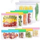 Bolsas de Silicona Reutilizables,10 Piezas Bolsas Congelar Reutilizable,Bolsas Reutilizables para Almacenamiento de Alimentos para Fruta Sándwiches Verduras,1.5mm Súper Grueso Sello Sin BPA (Vistoso)
