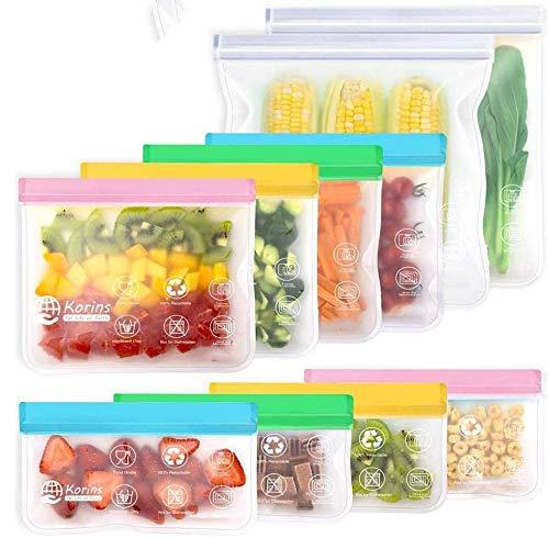 10 PCS Bolsas Reutilizables de Silicona Bolsas Reutilizables para Congelador Bolsas de Almacenamiento de Alimentos Sándwich Frutas Verduras Hermeticidad Sin BPA (color)