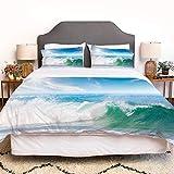 SIOCNYE Bettbezug-Bettwäsche,Summer Vacation Theme Seascape with Wave and Clear Sky Travel Surf,Mikrofaser-1 Bettdecke-Bettlaken 220×240CMund 2 Kissenbezüge 50×80CM