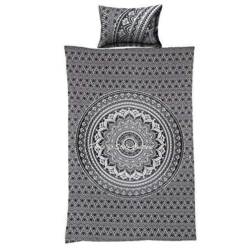 Stylo Culture Twin Ethnique de Coton Mandala Housse de Couette imprimé Floral Ombre Grise Couverture