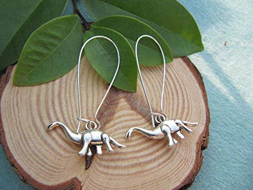 Silver Dinosaur Earrings Antique Jewelry Steampunk Gift