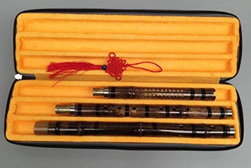 Chinesische geschnitzte violette Bambusflöte Xiao Musikinstrument in F-Taste, 8 Grifflöcher, 3 Abschnitte