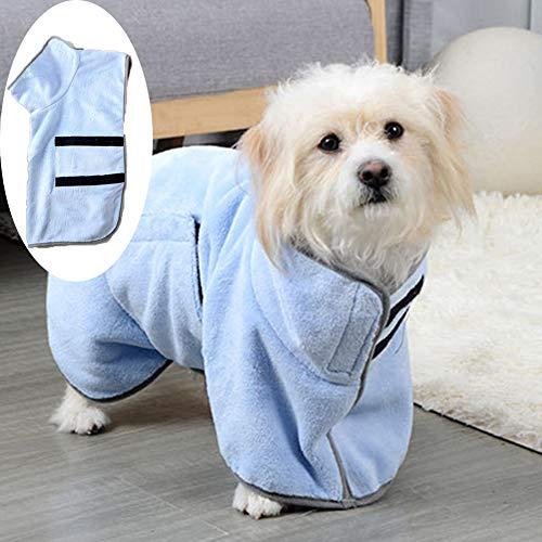 XXDYF Albornoz para Perros Pequeños Secado rápido de Microfibra Toalla Seca para baño, Albornoz de Toalla para Mascotas Que Absorbe la Humedad,Azul,M