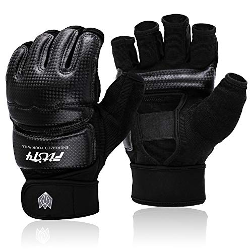 FitsT4 Half Mitts UFC MMA Training Boxing Punch Bag Kickboxing Sparring Grappling Martial Arts Muay Thai Taekwondo Wrist Wraps Support Gloves for Women Men Kids Black L
