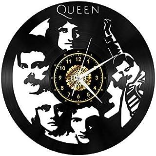 Queen Rock Band Vintage Black Vinyl Record Reloj de Pared Arte de Pared 3D Diseño Moderno Oficina Bar Habitación Decoración para el hogar Ventiladores Regalo Rock N Roll