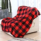 Syntus Buffalo Plaid Throw Blanket, 50 x 60 inches Soft Flannel Fleece Checker Plaid Pattern Decorative Blankets for Couch, Bed, Sofa, Red & Black