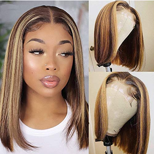 """Lace Front Highlighst Human Hair Bob Wigs Ombre Brown to Honey Blonde Balayage Lace Wigs13x6 Deep Parting Glueless Lace Straight Bob Wig for Black Women 16""""150% Density"""