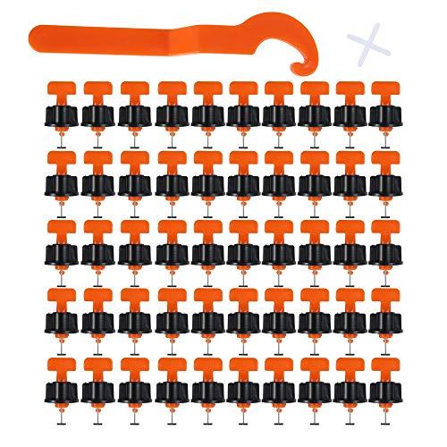 50 Piezas Sistema Nivelacion Baldosas Antideslizantes con 100 Crucetas para Juntas y 1 Llave Adicional Reutilizables, Nivelación Azulejos para Construcción Paredes, Pisos