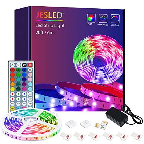 JESLED - Striscia LED 6 m (1 x 6 m), RGB SMD 5050, autoadesiva, cambia colore, con telecomando a infrarossi, per illuminazione di casa, feste, cucina