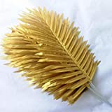 SUXIAO 12pcs Plantas Artificiales Hoja de Palmera Hoja de imitación Planta Hoja de Domingo de Palma Verdor Colores Dorado/Plateado53cm, Oro