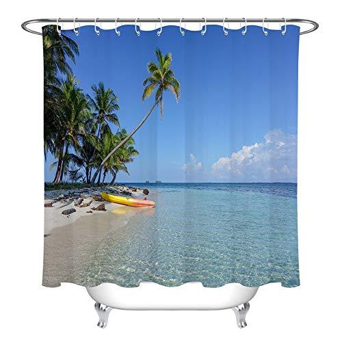 ZZZdz rubberboot op het strand. gordijn. Douchegordijn. Badkameraccessoires. 180 x 180 cm. 3D Hd-druk. Waterdicht. Verbleekt niet.