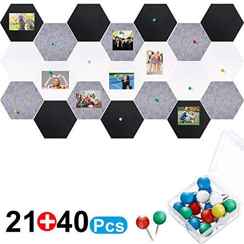 21 Pieces Pin Board Hexagon Felt Board Tiles Bulletin Board Memo Board Notice Board with 40 Pieces Push Pins for Home Office Classroom Wall Decor 5.9 x 7 Inches/ 15 x 17.7 cm (Black, White, Grey)