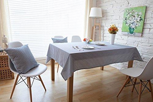 BLUELSS Nappe de Lin imprimé coréen rayé 3 Couleurs Housse de Table Nappe Nappe Accueil Manteles Toalha Para Mesa de Mesa,Bleu,140 * 180cm