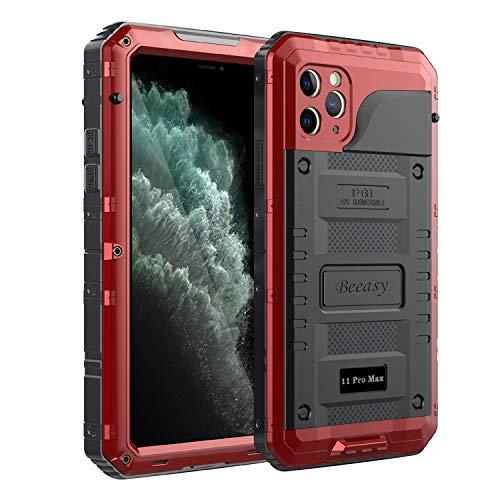 Beeasy Schutzhülle Kompatibel mit iPhone 11 Pro Max, Wasserdicht Stoßfest Outdoor Handy Case Militärstandard Hülle mit Displayschutz Metall Schutz vor Stürzen Stößen Heavy Duty Handyhülle,Rot