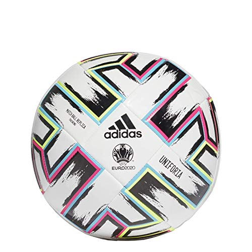 adidas Men\'s UNIFO TRN Soccer Ball, White/Black/Signal Green/Bright Cyan, 5