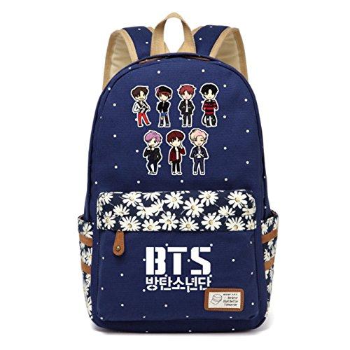 JUSTGOGO Korean Casual KPOP BTS Bangtan Boys Rucksack Daypack Laptop Tasche College Tasche Book Bag Schultasche Gr. L, Dunkelblau 3