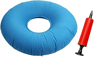 SUPVOX Almohada de cojín de Asiento Inflable Donut para hemorroides en la coxis Alivio del Dolor para Viajes de Campamento Senderismo Bomba de Aire incluida (Azul)