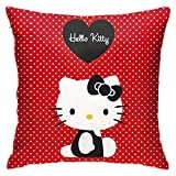 pingshang Funda de cojín de poliéster con diseño de Hello Kitty, color rojo, para sofá, sala de estar y dormitorio (45 x 45 cm)