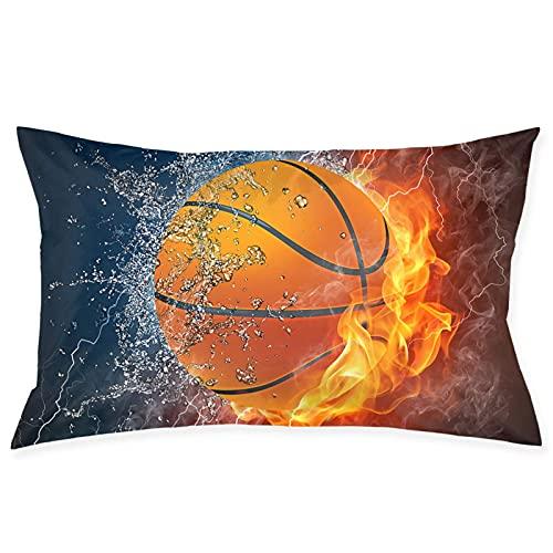 QUEMIN Pelota de Baloncesto en Ice Fire Throw Pillow Cover con Cremallera Funda de Almohada Rectangular Decorativa Fundas de cojín para sofá de casa y sofá Cama de 20 x 30 Pulgadas