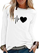 KANGMOON Women's Fashion Round Neck T Shirt Long Sleeve Tops Loose Casual Blouse Pullover Sweatshirt S-XXXL