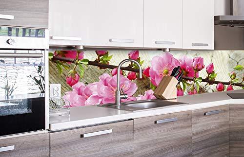 DIMEX LINE Küchenrückwand Folie selbstklebend Sakura | Klebefolie - Dekofolie - Spritzschutz für Küche | Premium QUALITÄT - Made in EU | 260 cm x 60 cm