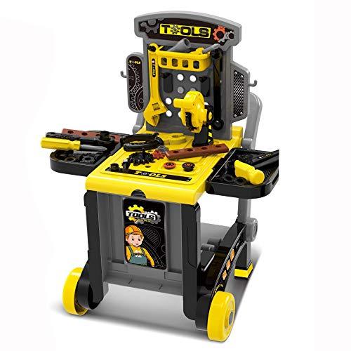 TikTakToo Werkstatt-Trolley, Werkstattwagen, Wagen, Werkzeug, Werkzeugkoffer für Kinder, Technikwagen, Mechaniker, 3in1, inkl. 46 teiligem Zubehör