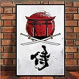 baodanla Sin Marco Japanese Bonsai Bushido Samurai Kanji Anime Abstract Poster and Prints Art ng Wall Pictures For Living Room Home Decor60x90cm