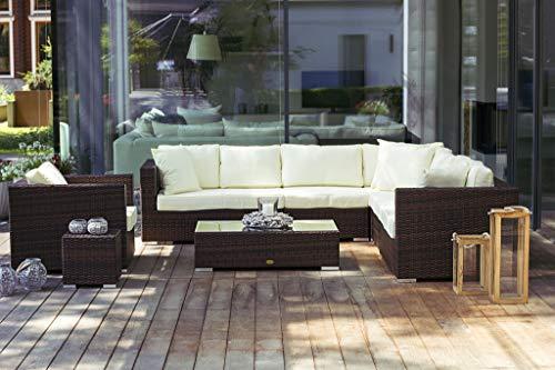 Essella Miami, set di mobili in polyrattan, bicolore marrone con extra, 1.4mm in vimini
