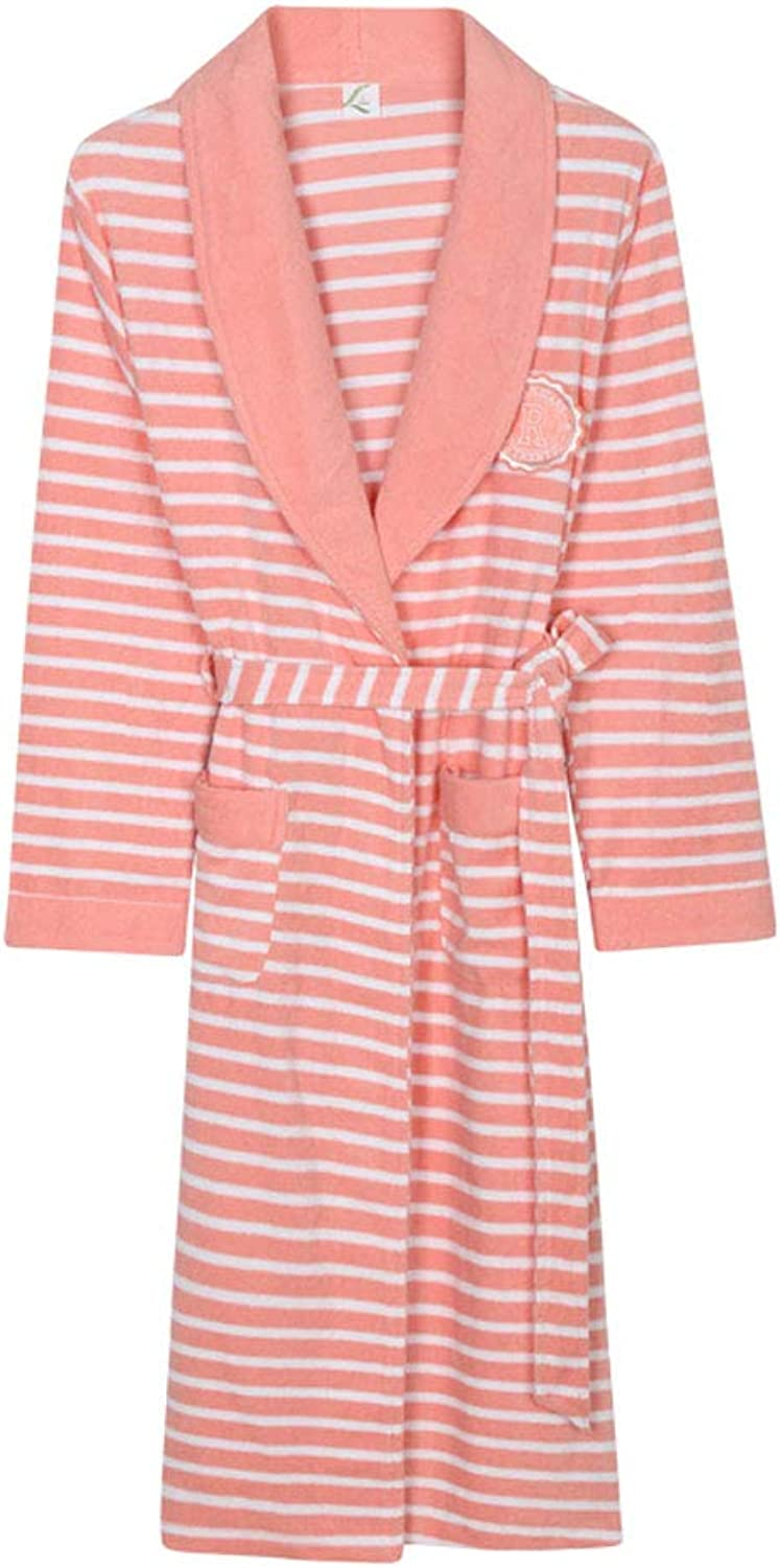 Bathrobe Terry, MidLength, Towel Fabric Warm, LongSleeved Gown, Home Bathrobe, Couple Nightgown (color   B, Size   XL)