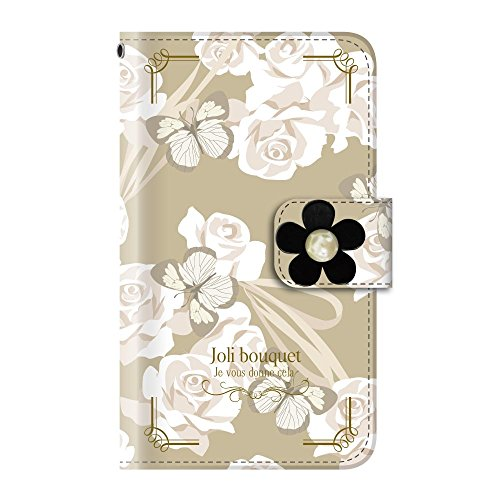 +S iPod touch 第5・第6・第7世代 手帳型ケース デコパーツ 花 リボン 蝶 ホワイトブーケ(黒) PUレザー tmd0004-08