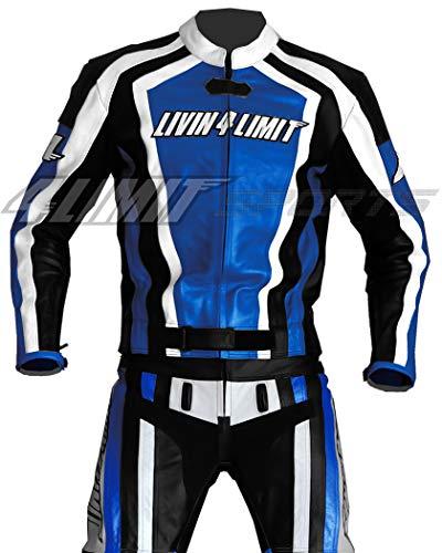 4LIMIT Sports Motorrad Lederkombi LAGUNA SECA Zweiteiler, Blau-Schwarz-Weiß, Größe XS