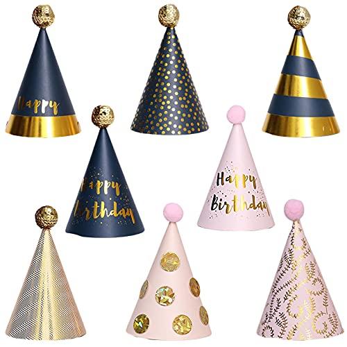 Feest Verjaardag Hoed Kleur Pompon Mooie Papieren Hoedjes Met Pompons Feestmutsen Lovely Paper Kinderen Feestmutsen Met Pom Poms Elastische Band voor Kinderen Verjaardagsfeestje Decor Prop