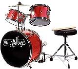Musica Alley 3 Pezzo Junior Kit Tamburo per I Bambini con Tamburo a Pedale Piatto di Feci e Tamburo Bastoni Rossi Metallico