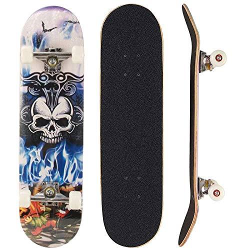 Sumeber, skateboard per evoluzioni da adulti, per principianti, regalo di compleanno, per adolescenti, ragazze, ragazzi e adulti, Teschio King