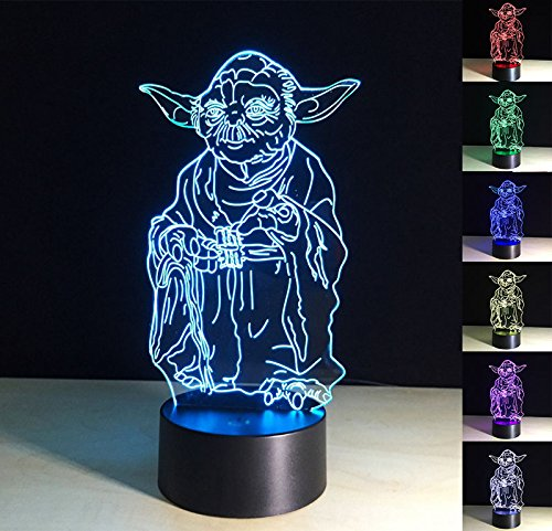 3D Night Light,Yod Light Illusion D Lamp,3D Night Light Lamp 7 Color Change Desk Decoration Lamps Birthday Christmas Gift,Powered by USB or 3AA Battery