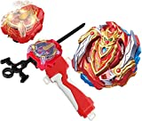 Bey Battle Burst Blade Evolution B-129 Booster Cho-Z Achilles.00.Dm Red Sparking Left & Right Launcher Handle Starter Set Gaming Battling Top Turbo GT God Bay Lr Bey launcher Spinning Toy Gift for Boy
