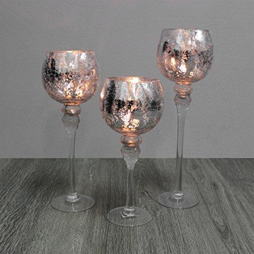 Wohaga 3er Set Glaskelch Windlichter H30/35/40cm mit silberfarbenen Kelch in Bruchglasoptik Kerzenhalter Kerzenleuchter Kerzenständer Glaskelch auf Fuß