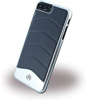 MERCEDES MEHCP7LCUSNA Wave III Genuine Leather- Brushed Aluminium Hard Case -Blue Abyss.(iPhone 6 Plus)