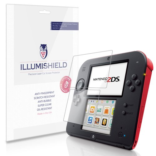 iLLumiShield Screen Protector Compatible with Nintendo 2DS (3-Pack) Clear HD Shield Anti-Bubble and Anti-Fingerprint PET Film