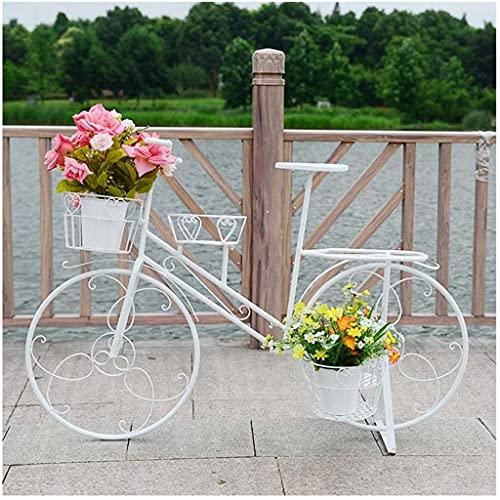 VERDELZ Bike Style Potted Plant Stand,Balcony Living Room Corner Metal Flower Storage Organization Shelves,Flower Potted Display Rack,Indoor Outdoor Flower Holder